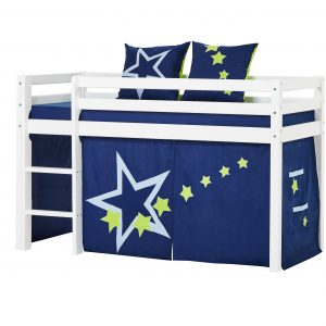 Hoppekids - BASIC Half-high bed with foam mattress + mattress cover + curtain 70x160 - Blue Star