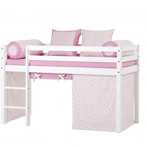 Hoppekids - BASIC Half-high bed with foam mattress + mattress cover + curtain 70x160 - Nostalgia
