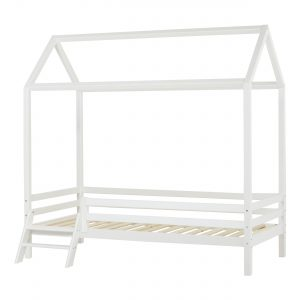 Hoppekids - BASIC House bed w. Ladder 90 x 200 cm - White