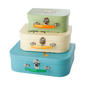 Rice - Cardboard Suitcase Set of 3 - Jungle Animals Print - Blue, Creme & Green