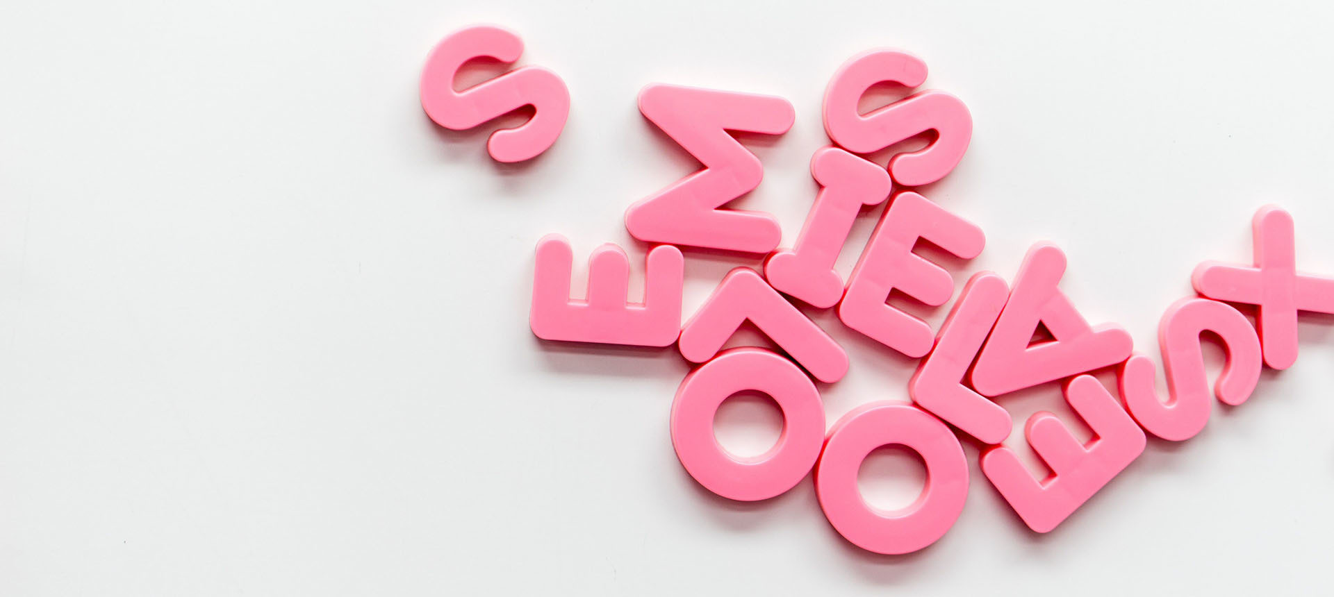 Letters in pink