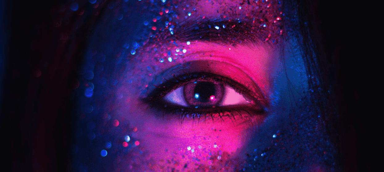 Öga-med-glitter