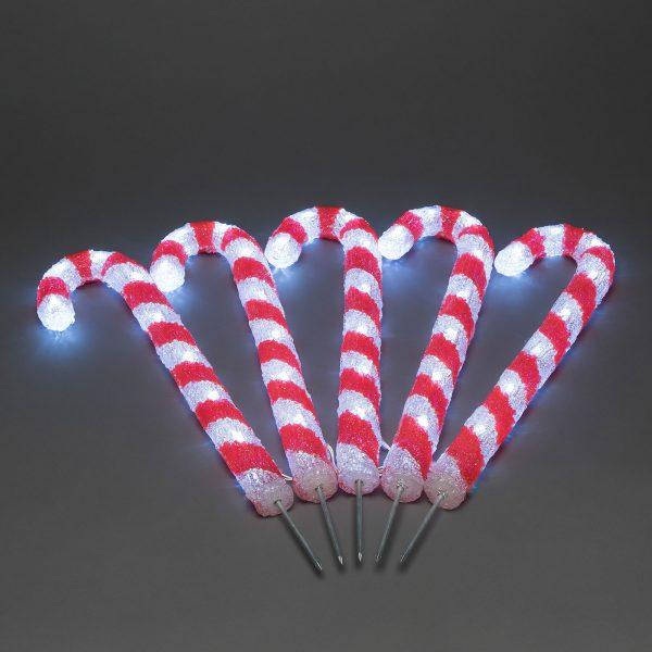 LED-ulkovalaisin karkkitanko, 5 kpl