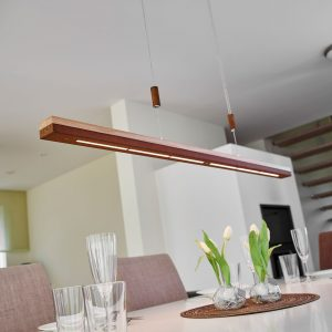 Ruoste ja puu - LED-riippuvalaisin Elna, 118 cm