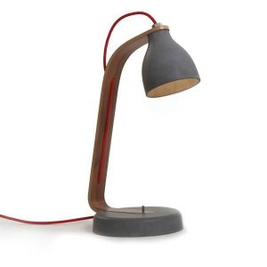 decode Heavy Desk Light Table Lamp Dark Concrete w. Walnut