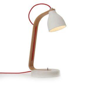 decode Heavy Desk Light Table Lamp Light Grey Concrete w. Oak Wood