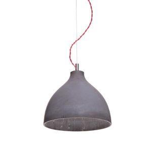 decode Heavy Light Pendant H1 Dark Concrete w. Red Textile Cord