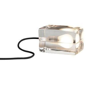 Design House Stockholm Block Lamp Table Lamp Clear Glass Black Cord