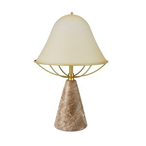 TATO Anita Table Lamp Light Yellow/Brass & Brown Marble