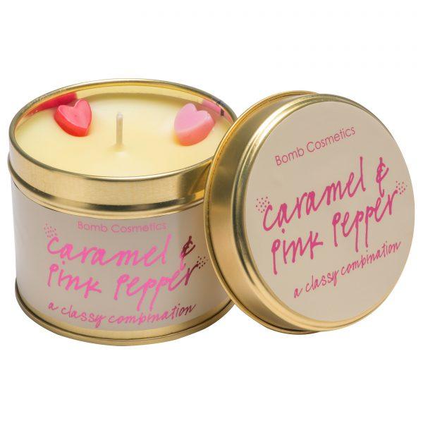 Bomb Cosmetics Tin Candle Caramel & Pink Pepper