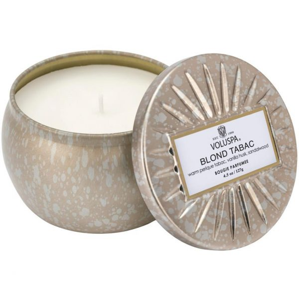 Voluspa Vermeil Decorative Tin Candle Blond Tabac 25h 127 ml