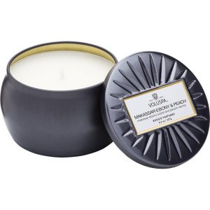 Voluspa Decorative Tin Candle Makassar Ebony & Peach, 127 g Voluspa Tuoksukynttilät