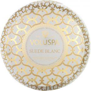 Voluspa 2-Wick Maison Metallo Candle Suede Blanc, 312 g Voluspa Tuoksukynttilät