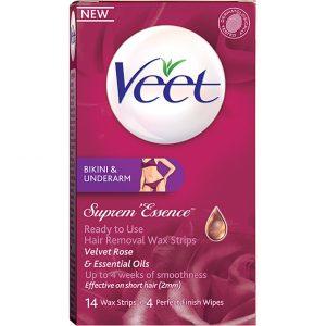 Veet Ready-to-Use Suprem Essence Wax Strips for Bikini & Underarm, Veet Karvanpoisto