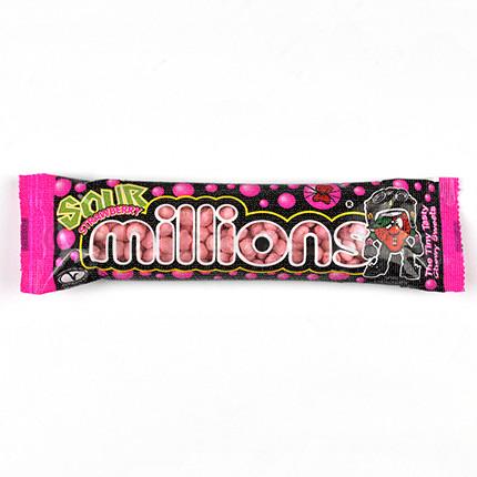 Millions Sour Strawberry Tubes 40g